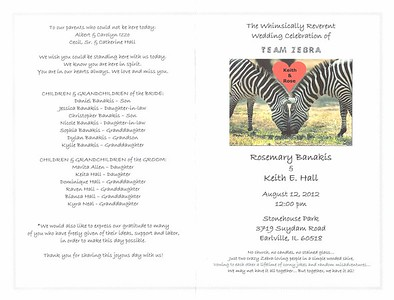 20120812 Team Zebra Wedding Program 1