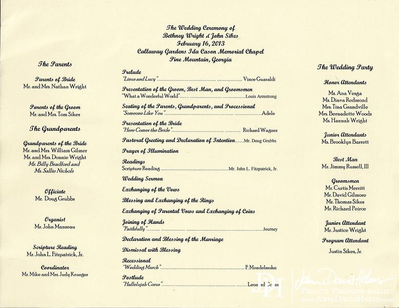 sikes wedding program