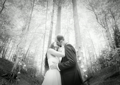 wedding kiss in the woods of Ithaca