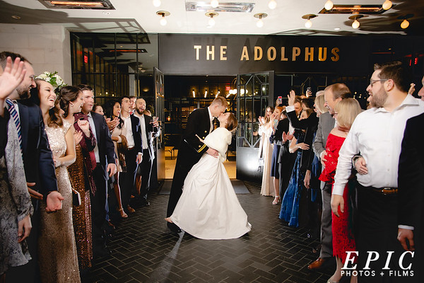 Grand Exit of the wedding at the Adolphus Hotel