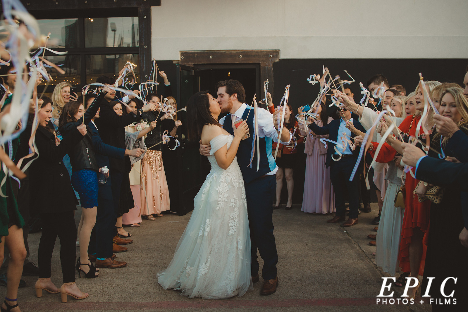 Grand exit of the wedding at Four Corners Brewery
