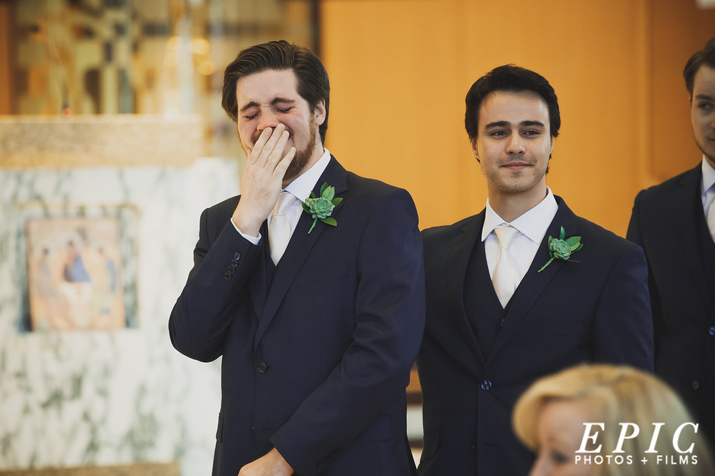 Groom tears up when he sees his bride walking down the aisle