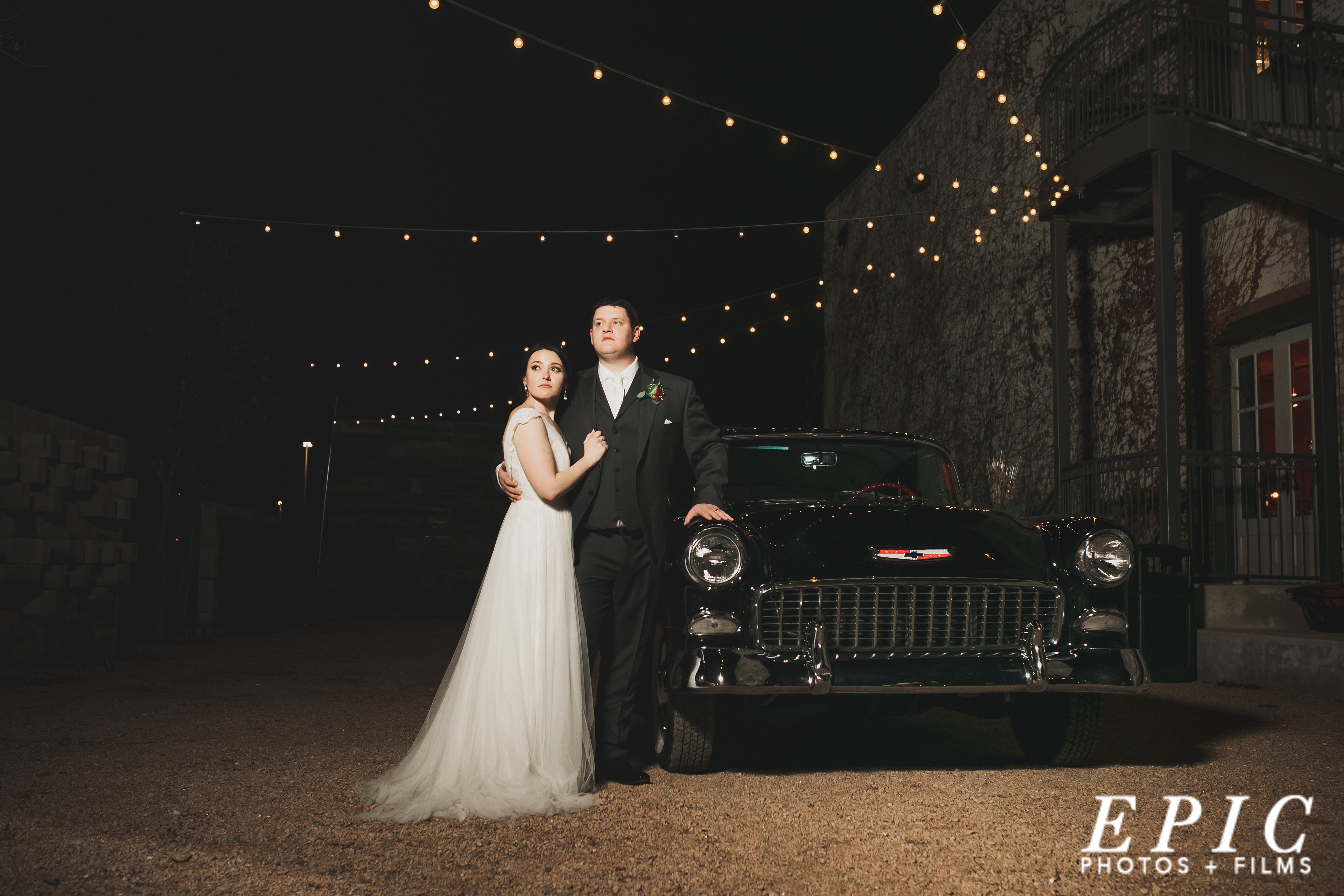 Classy night time portraits of the couple on their wedding day at The Brik Venue