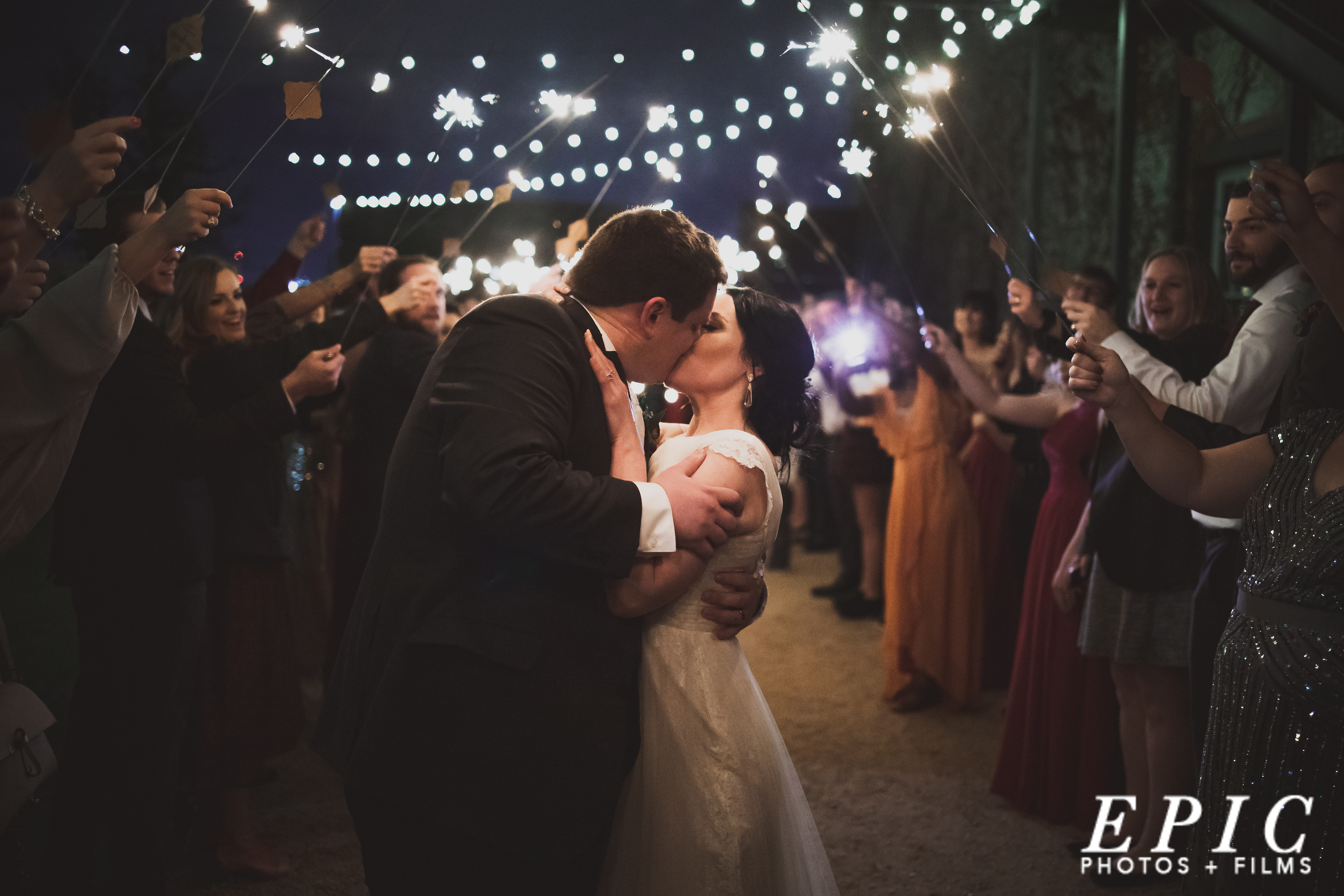 Sparkler grand exit for the wedding day at The Brik Venue in Ft. Worth Texas