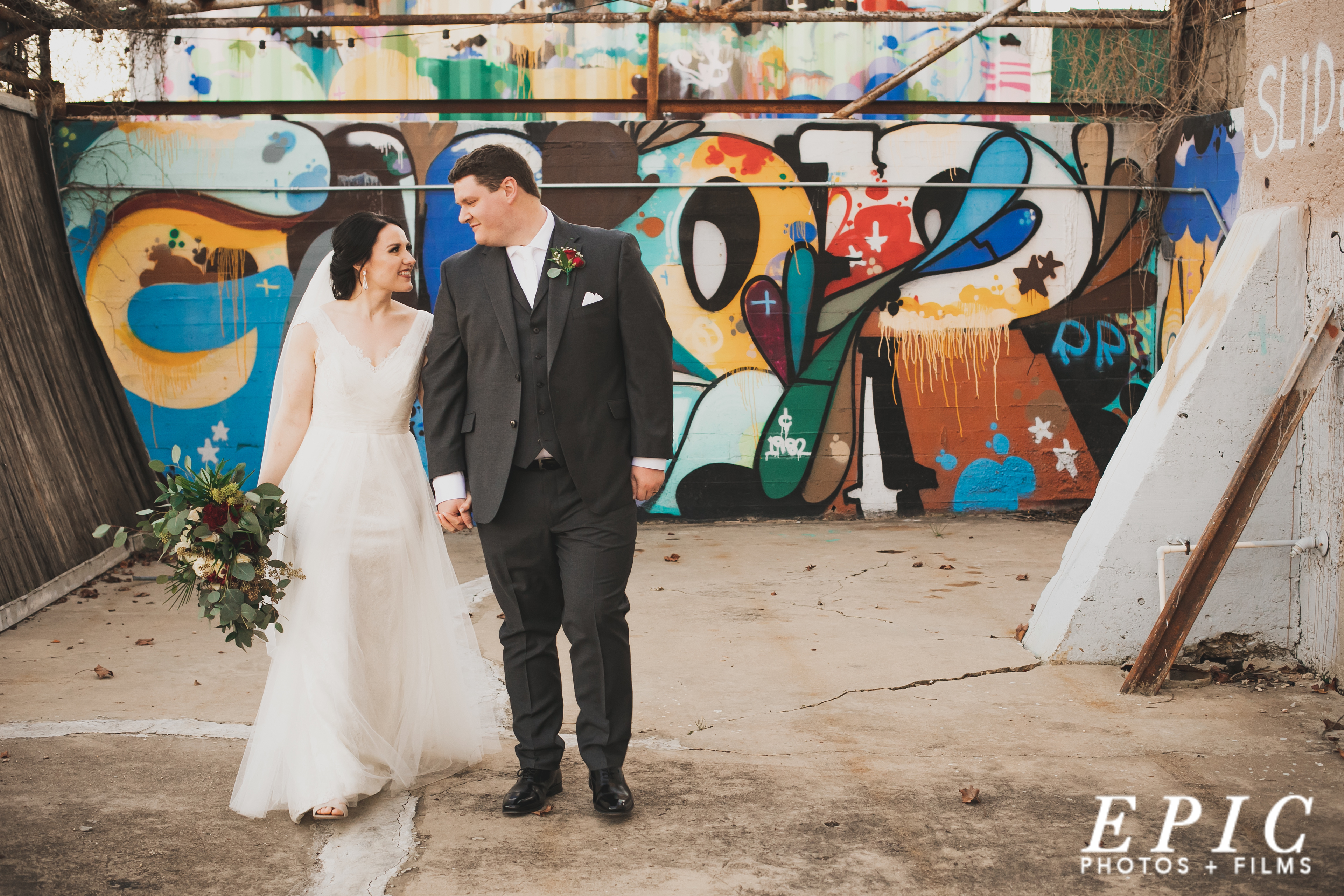 Colorful city background for wedding day couples portraits