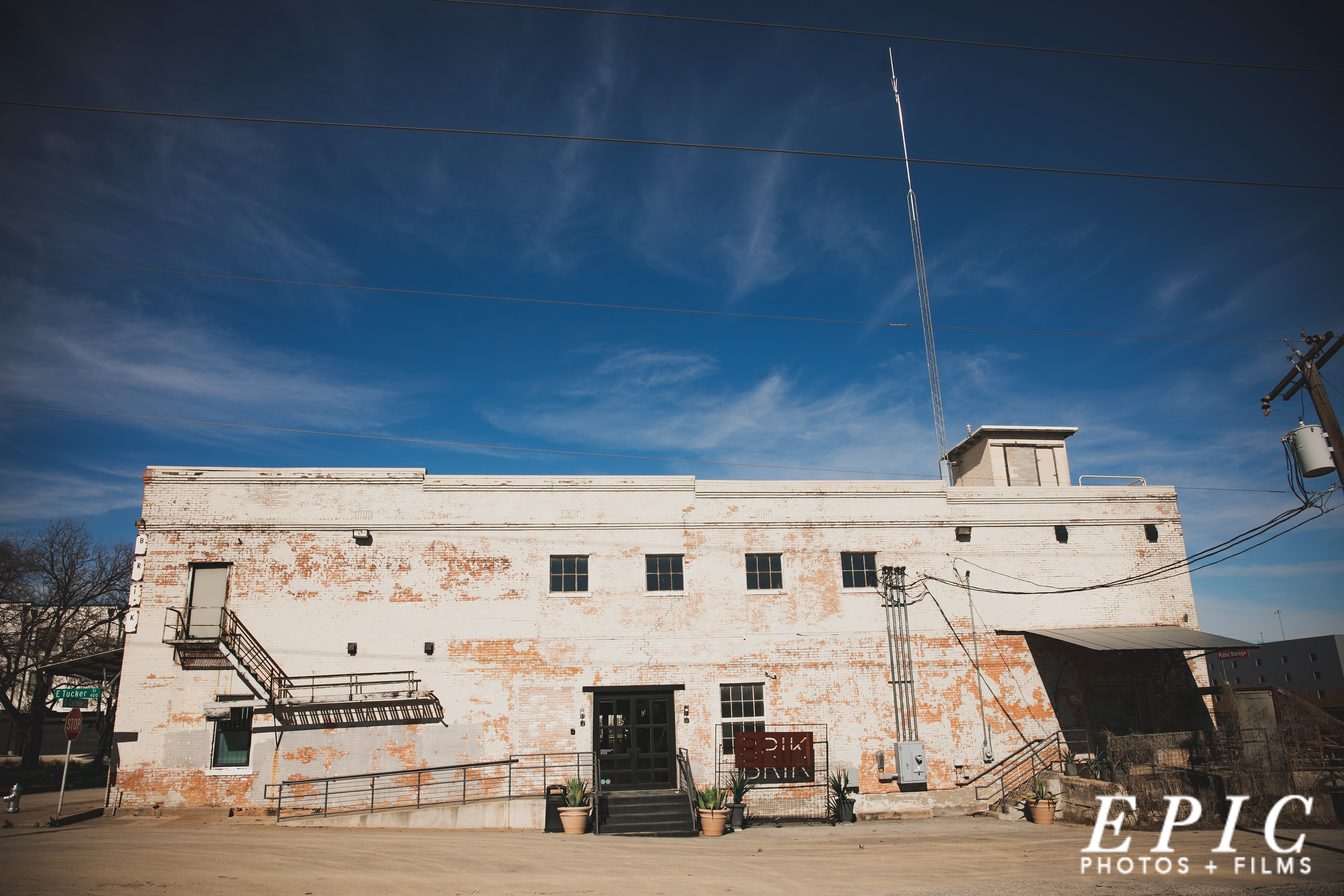 Outdoor shot showing the industrial vibe of The Brik Venue, in Ft. Worth, Texas