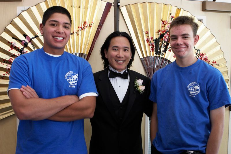 Adam with Quinlan Center's awesome staff attendants, Greg and Jason