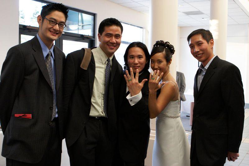 Flashing the newlyweds sign