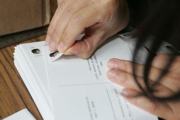 Preparing the postcards