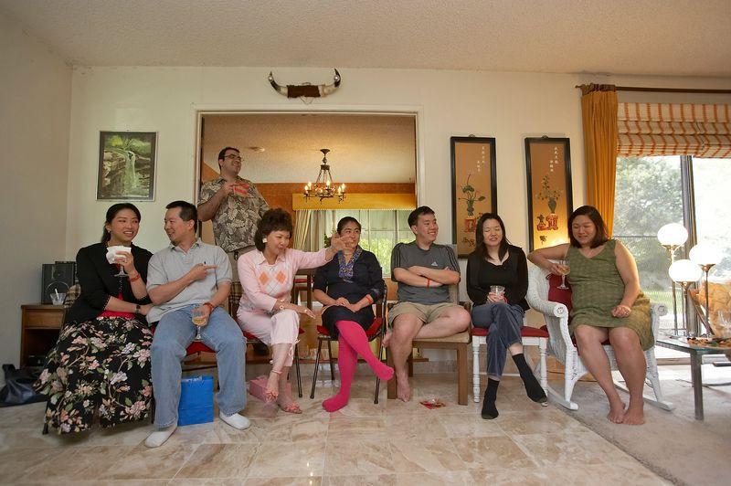 Lisa, Chris, Salim, Aunt Mei, Christine, Bryan, Susan, and Christine