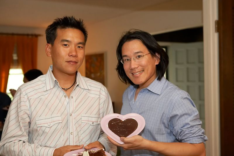 Someone pointed out that Adam should probably not have been holding a chocolate heart between us...