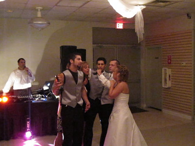 "Some of the Wedding Party Singing ""Up and down the boulevard"""