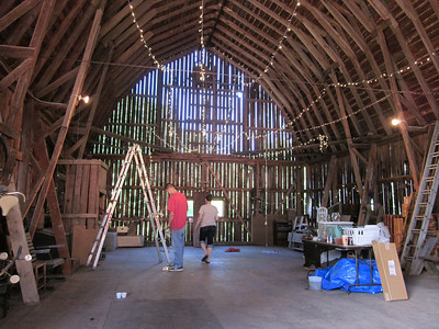 Cleaning the barn in preparation for the wedding