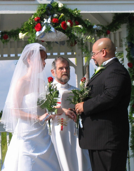 The new Mr and Mrs Barrios take our cue for Rev Turcot.