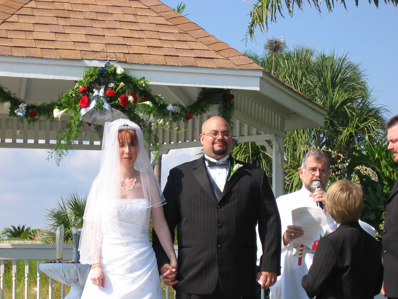 Michele and I take our 1st walk as man and wife.