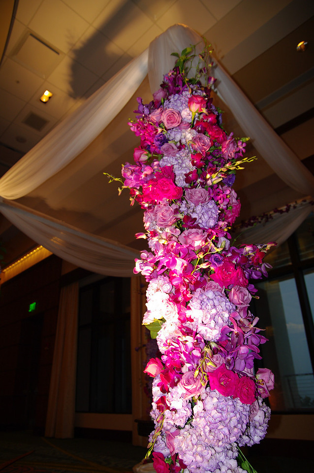 The chuppa, wall adorned in flowers