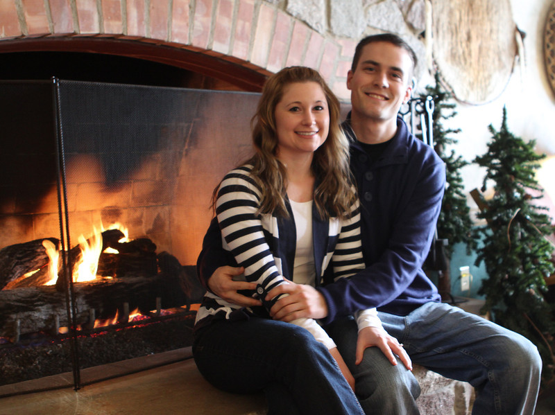 Andrea & Ryan get warm and toasty inside the Potawatomi Inn at Pokagon State Park.
