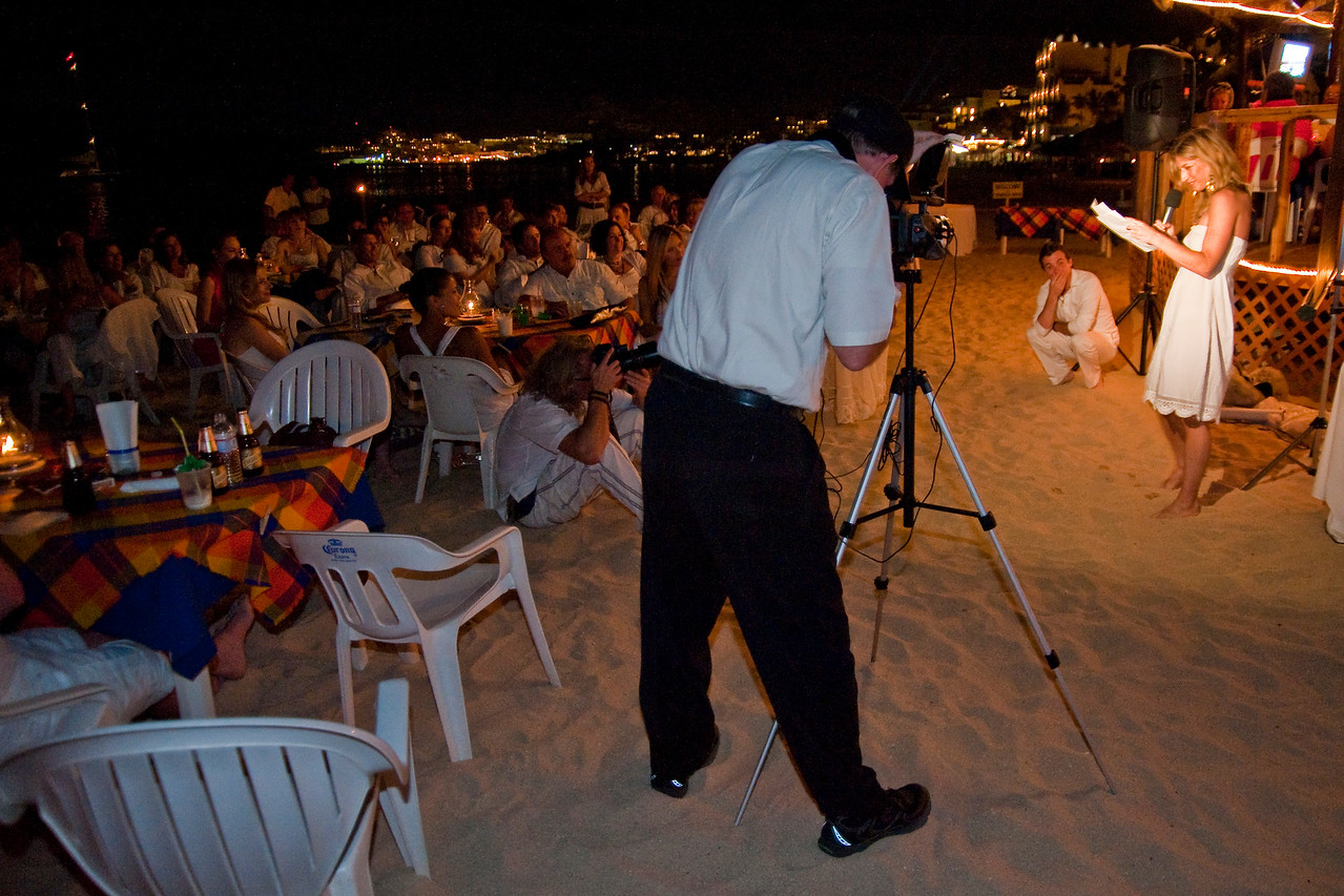 CABO SAN LUCAS, MEXICO — Ange Billman and Andrej Maihorn's wedding rehearsal dinner at the Tobasco Restaurant Medano Beach by the Sea of Cortes. Photo taken by Tom Sorensen, Friday June 5th, 2009.