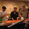 """The """"experts"""" came in to help Steve install the beer refrigerator and tap ... then we all enjoyed the HefeWeisen!"""