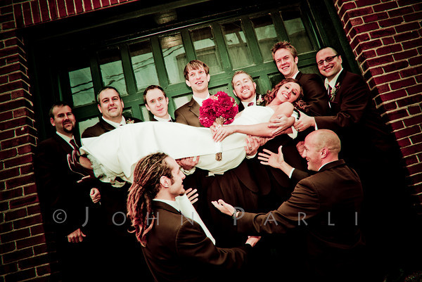 wedding party groomsman with bride
