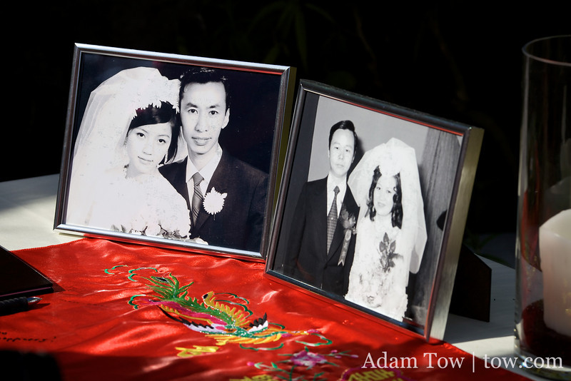 Photos of the bride and groom's parents' weddings