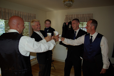 A TOAST - The men gather beforehand to share a good-luck toast. .