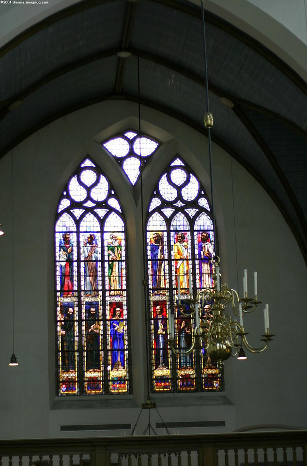 The church, stained windows