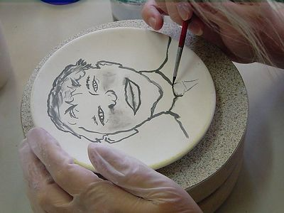 As there was a plate with just my charicature on it, Jacqueline insisted there should be one of Rob by himself too. So she did here second plate...
