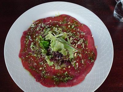 The first course was carpaccio for some...