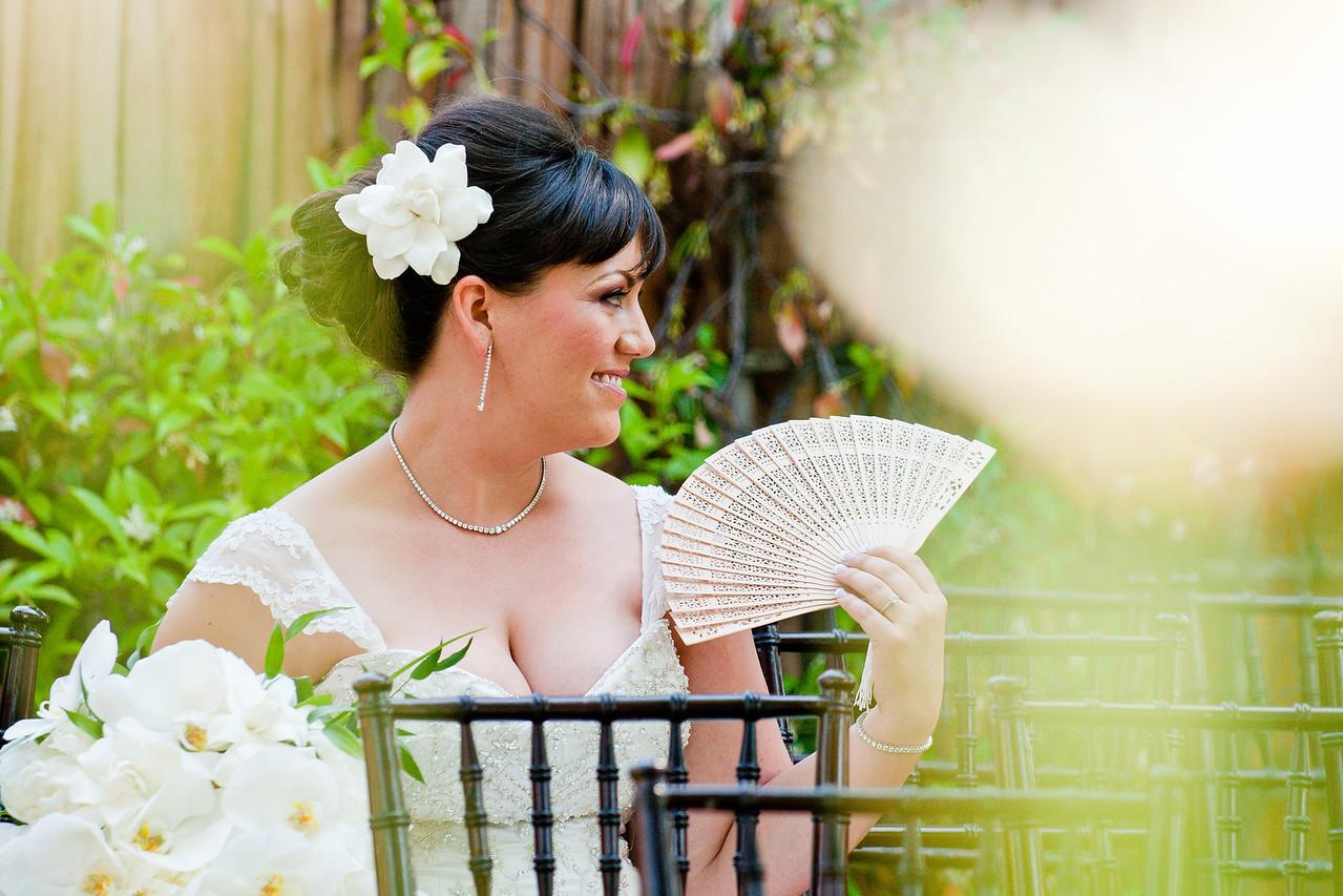 Bride with wedding fan