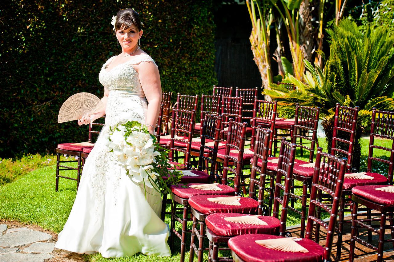 Bride with wedding fans