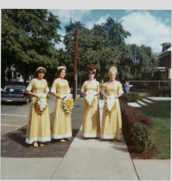 Bridesmaids. Left to right Marilyn DelGrosso, Barbara Kunka, Patricia Corrigan, Lois Brown