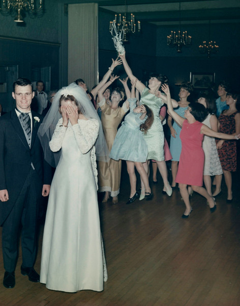 Suburban Hotel, Summit, NJThrowing the bouquet. Caught by Margaret Corrigan.