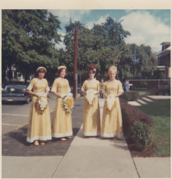 Bridesmaids. Left to right Marilyn DelGrosso, Barbara Kunka, Patricia Corrigan, Lois Brown