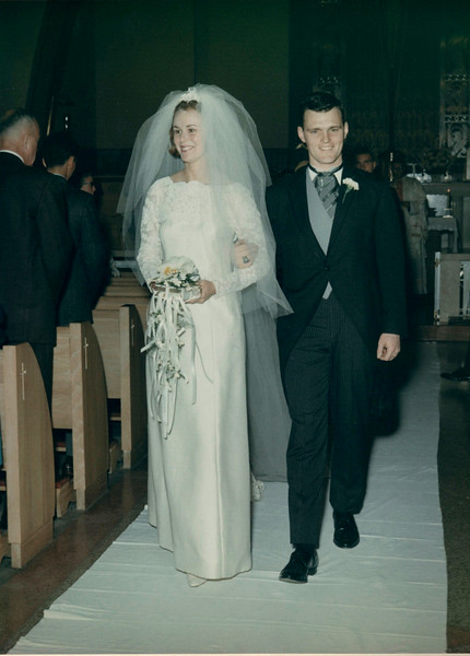 Immaculate Conception Church, Elizabeth, NJ. Barb and Ed walking down the isle after marriage.