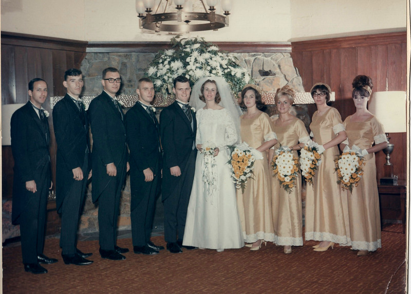 Suburban Hotel, Summit, NJ. Wedding party: left to right Pat Manszo, Harold Stoebling, Richie Jacobs, Henry (Matty) Matlosz, Ed Corrigan, Barbara (Shelly) Corrigan, Barbara Kunka, Lois (Sakowski) Brown, Marilyn Del Grosso, Patricia Corrigan.