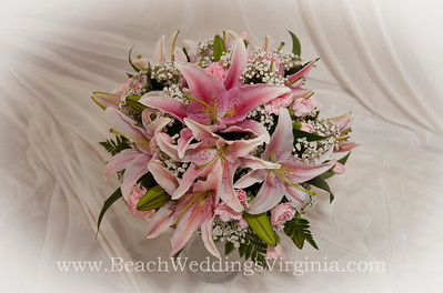 pink stargazer lilies, other pink and white, cascading
