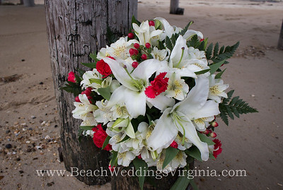 white lilies, peruvian lilies and red accents, cascading