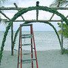 "The wedding structure built just for our ceremony. The family that has owned the <a href=""http://www.belizeisland.com"" title=""Long Caye's Website"" target=""_blank"">island </a> said this was the first ever wedding on Long Caye! They built this for us and created a paradise destination wedding experience.  This location is the Northern end of the caye and looks Northeast."