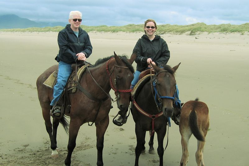 On our horses, Smoky and Matty