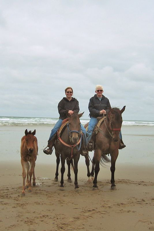 On our horses, Smoky and Matty, with Matty's baby
