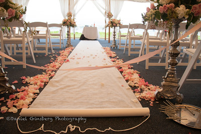 Wedding walk way strewn with rose petals.