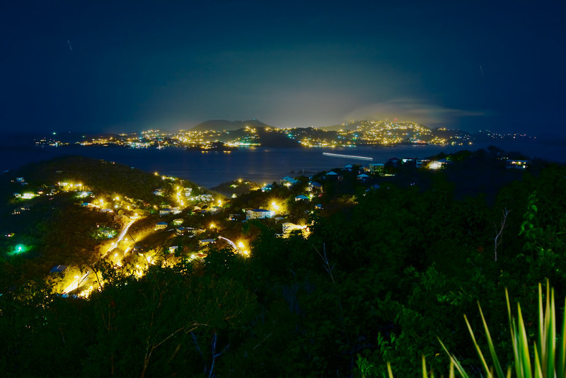 long exposure view of Redhook, St Thomas across the bay.  You can even kind of see the ZPsi in lights on the hill