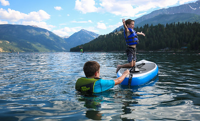 Reid and Noah from Vancouver Washington seize the day in Wallowa Lake.  (Kelly Lyon/The Register-Guard)