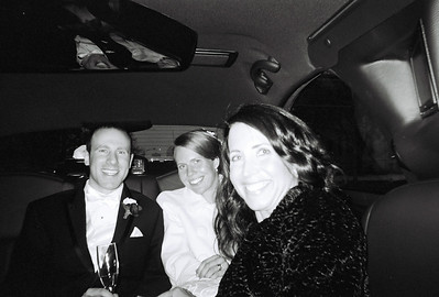 In the limo, post-wedding.  Bill, Carrie, and Jenny.