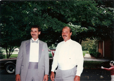Greg and Bob before Bob & Debby's wedding 9/87