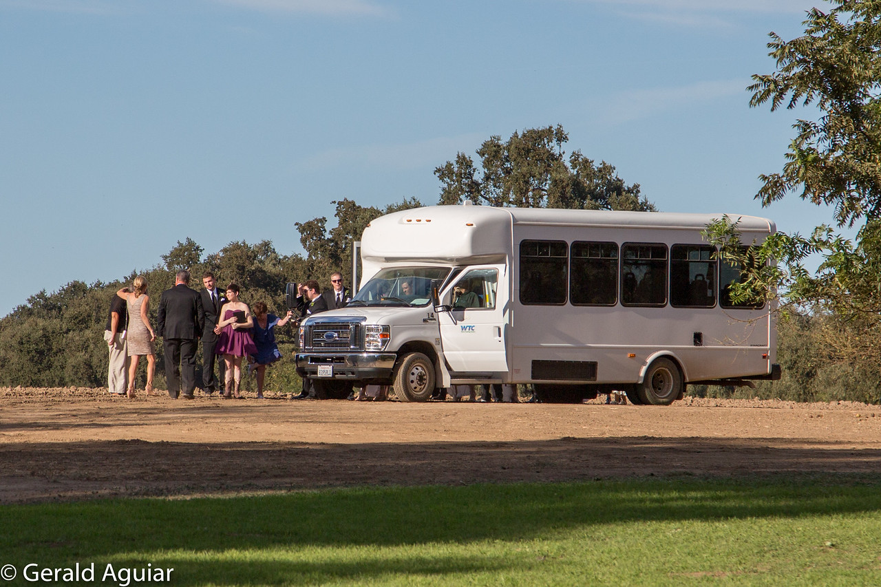 Shuttle Bus Unloading the Wedding Party