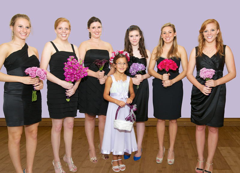 bridesmaids with flower girl