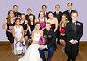 full bridal party purple wall