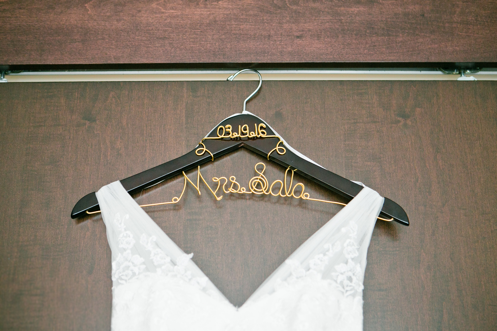 spring wedding, custom bridal wedding hanger